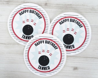 Bowling Stickers, Bowling Favor Tags, Bowling Birthday, Bowling Party, Retro Bowling, Personalized Labels- Set of 12