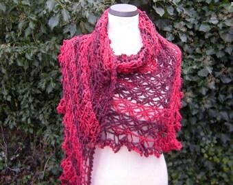 Triangle shawl, scarf, red, dark red, crochet, crochet, scarf star