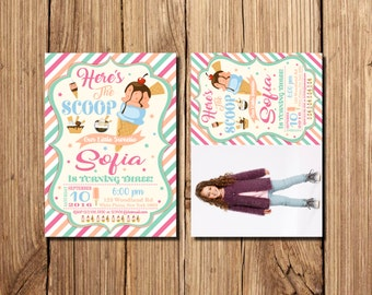 Ice Cream Invitations,  Ice Cream Birthday Invitation, First Birthday Party Invitation, Here's the Scoop, Ice cream party invitation