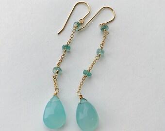 Aquamarine Earrings , March birthstone, semiprecious stone Earrings , Gemstone Earrings, Drop Earrings, March Birthday, Dangle Earrings