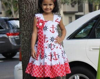 Girls Nautical Dress, size 2t-10 Girls Dress, Girl Red and White Dress, girls cotton dress, Girls Summer Dress