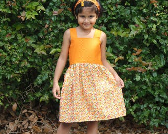 Girls Summer Dress, Girls Cotton Dress, Girls Orange Dress, Girls Dress