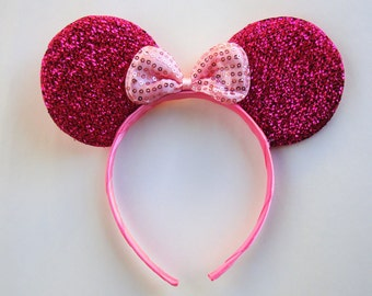 Minnie mouse ears-pink glitter ears with pink bow