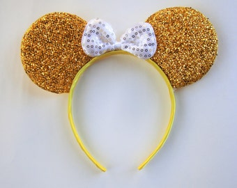 Minnie mouse ears-gold glitter ears with white bow