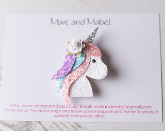 Unicorn Hair Clip - Unicorn Headband - Unicorn Gifts - Gifts for Girls - Sparkly Hair Clip - Glitter Hair Clips - Handmade Hair Clips