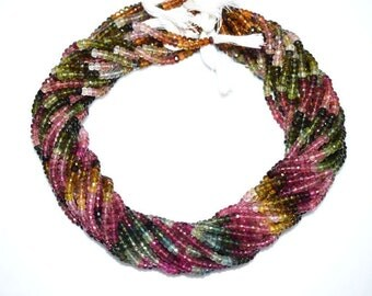 Natural Multi Tourmaline Rondelle Beads 16 Inch Strand , Tourmaline Faceted Rondelle Beads , 4 - 4.50 mm - MC763