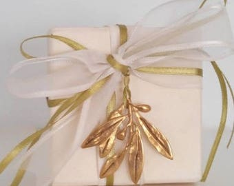 Wedding bomboniere, wedding favor,handmade bronze olive branch tied with satin ribbons on a box with sugared almonds, sold by the dozen