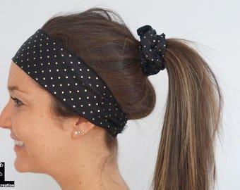 Bandeau pour cheveux noir à pois or