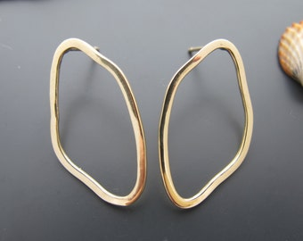 14k Minimalist Earrings, Solid Gold Wire Hoop Earring, For Her, Hammered Wire Earrings, Solid Gold Earrings, Delicate And Dainty Jewelry