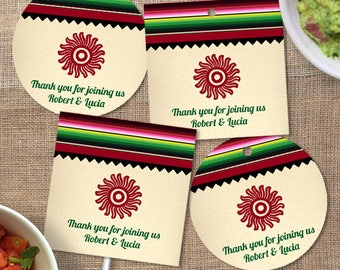 Printable Mexican Serape Party Fiesta Images, Editable PDF Instant Download envelope seals, stickers, tags, buttons, cupcake toppers