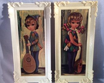 Pair of Vintage Eden Big-Eyed Lithographs Harlequin Moppet/Jester in Plastic Frames