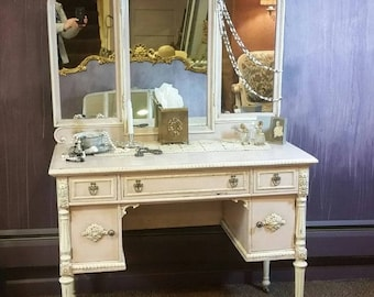 SOLD - But... Contact me for Custom Work! Antique Vanity Table with Mirror in Blush Pink and Ivory