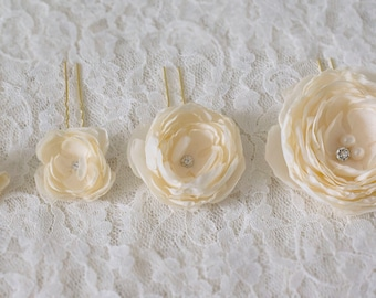 Fabric hair flowers | set of 4 bridal hair pins | bridal hair flower