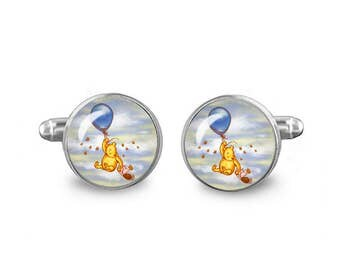 Winnie Pooh Cuff Links 16mm Gift for Men Groomsmen Novelty Fandom Cufflinks Cosplay Fanboy Fangirl