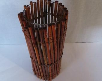 Bamboo Covered Glass Vase