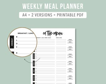 Minimalistic Meal Planner / Printable Intentional Meal Planner Sheet / Weekly Meal Planning Insert / Meal Planner Inserts
