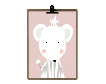 Mouse nursery print - Pink Nursery art prints - baby nursery decor - nursery wall - Children Art - Kids Room