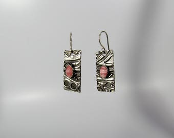 Item 4252 - Beautifully Handcrafted Textured Petite Lightweight Fine and Sterling Silver Earrings with Genuine Rhodochoriste