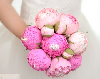 Pink Flowers Pink Peonies Wedding Bouquets Paper Wedding Bouquet Bridal Bouquet Bridesmaids Bouquets Fuchsia Paper Flowers Peonies Decor