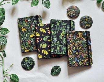 Jungle BLACK paper journal, black paper hardcover notebook, BLACK NOTEBOOK, Green jungle, fruit, and animal print