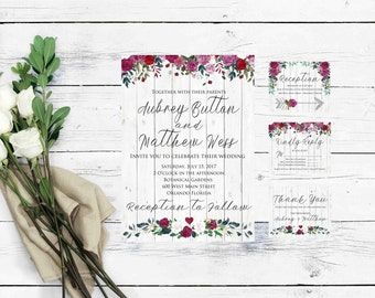 Boho Wedding Invitation- Wedding Invitation Template Rustic- Marsala Invitation-Boho Invitation- Rustic Wedding Invitations with RSVP Cards-