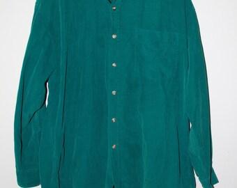 GAP Vintage corduroy teal blue green button down oxford shirt size L