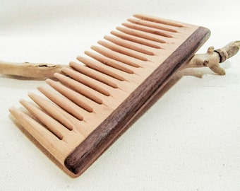 Modern Wooden Comb, Maple, Small Walnut Handle, Curly hair, beard comb, gifts for her, gifts for him.