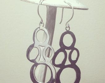 Silver Bubble Earrings, dangle earrings, drop earrings, circle earrings, bubble dangle earrings, silver circle earrings gifts for her