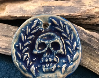 Andrew Thornton Faux Porcelain Skull Polymer Pendant
