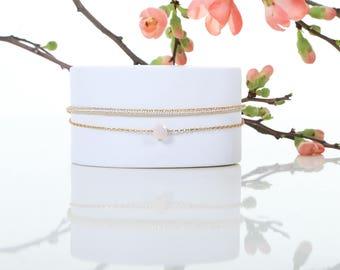 Gienah Cygni - Pink Opal woven bracelet