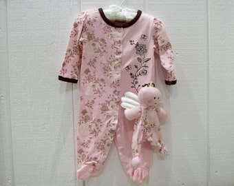 Baby 2pcs Sleep and Play Pink Footed Pajamas with Matching Plush