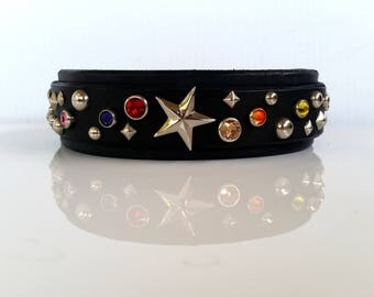 Leather Dog Collar / Custom Dog Collar / Black Leather Dog Collar / Brown Leather Collar / Swarovski Dog Collar / The Stardust