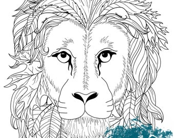 Printable Adult Coloring Page Zentangle Lion Head Wall Art Pattern