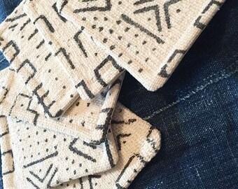 African Mud Cloth Coasters Bogolanfini Mudcloth Organic Handspun Naturally Dyed