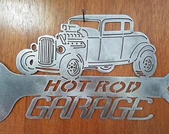 1932 Ford Hot Rod Garage Metal Art
