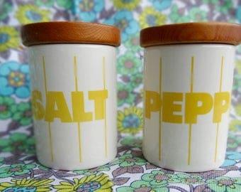 Vintage 1970s John Clappison Designed Ceramic Hornsea Yellow Striped Salt And Pepper Shaker/Cruet Set