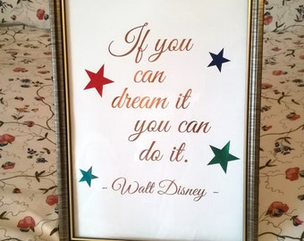 Disney Foil Print - Walt Disney Wall Art - If you can dream it you can do it - Disney Home Decor - Copper Nursery Print - Disney Quote