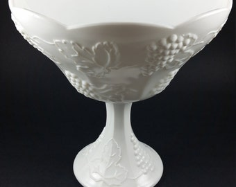 Vintage Indiana Milk Glass Compote in Harvest Grape Pattern