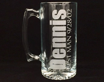 Custom 28 oz Glass Beer Mug Etched with Name/Date/Wedding Party or Just Name
