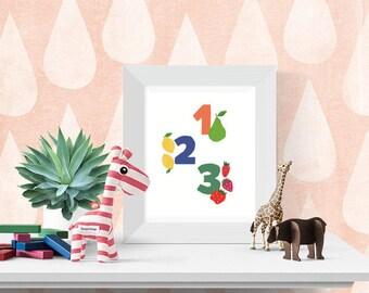 Printable nursery wall art, number and food illustration kitchen print, children's art, baby room art, digital download, 8x10 inch