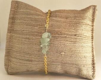 Green Aventurine Stone and Gold Bracelet
