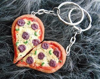 Best Friend Pizza Keychain Set - Miniature Polymer Clay Food Jewelry