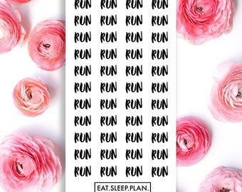 Clear Text RUN Planner Stickers - 44 Stickers - Planners - Font Stickers - Handwriting Stickers - Clear Exercise Working Out Stickers
