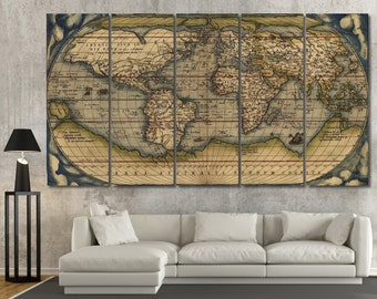 Large Vintage Wall Art Old World Map, Antique world map canvas wall art, old map art print on canvas wall art vintage map wall picture