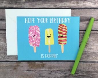 cute popsicle card - poppin' birthday card - cute birthday card - funny birthday card - food birthday card - summer birthday card - popsicle