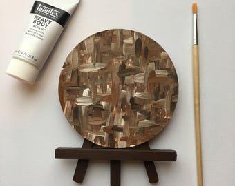 Original Art, Miniature Art, Mini Painting, Abstract Painting, Abstract Art, Neutral Art, Original Painting, Round Art