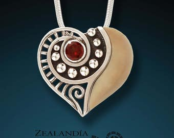 Tender - Hand carved tagua nut, garnet and sterling silver pendant
