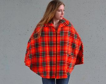1970s cape | zip up cape | orange cape | plaid | Size xs-m