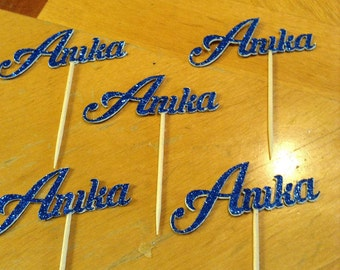 Personalized Glitter Name Cupcake Toppers