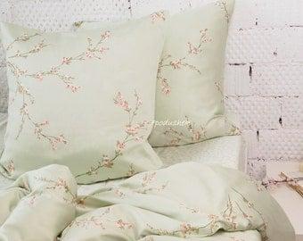 Comfortable bedding Mint flower sakura bedding custom bedding duvet floral set romantic floral sheets lace oriental wedding zipper arrow